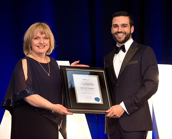 Demetri Hughes being awarded by Lee Tonitto, CEO of the Australian Marketing Institute, with the highest honour one can be bestowed by the National Board with Life Membership at their National Awards for Marketing Excellence Gala Dinner - in recognition of service to the marketing community.
