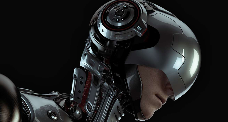 Image of a futuristic human cyborg robot - half human, half robot. This image represents the change that phones and technology have on user experiences increasingly.