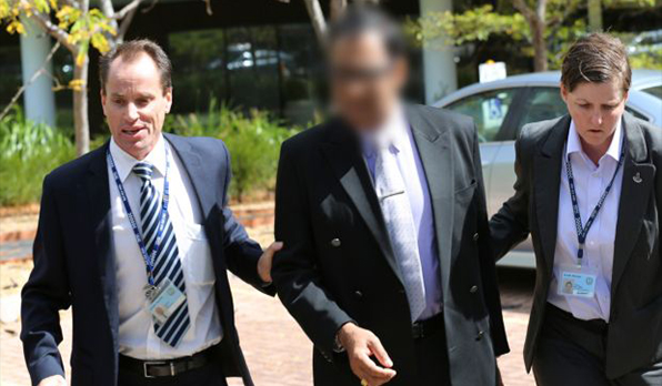 Coca Cola executive Bryan Pereira at his arrest in 2015 (Image courtesy of The Sydney Morning Herald, taken by Nathan Patterson)